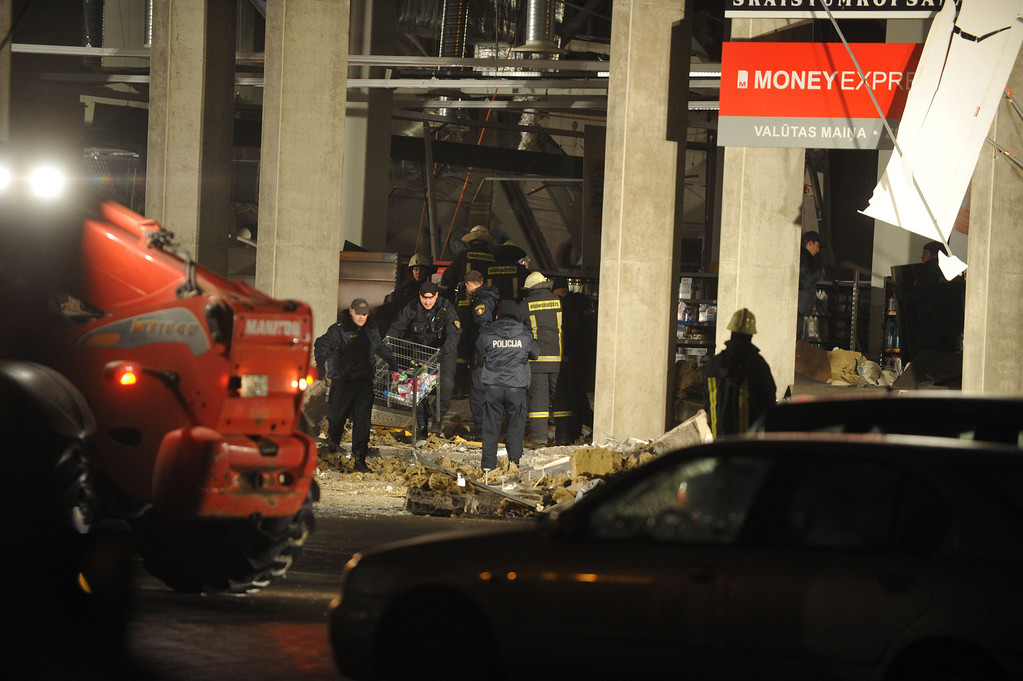 . Rescuers search for survivors on November 21, 2013 under the rubble at the Maxima supermarket in Riga, after a roof collapsed. ILMARS ZNOTINS/AFP/Getty Images