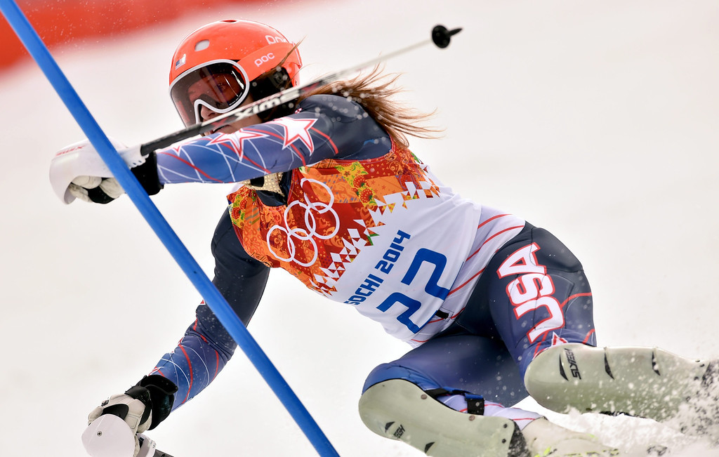 . Julia Mancuso of the USA in action during the Slalom portion of the Women\'s Super Combined race at the Rosa Khutor Alpine Center during the Sochi 2014 Olympic Games, Krasnaya Polyana, Russia, 10 February 2014.  EPA/JUSTIN LANE