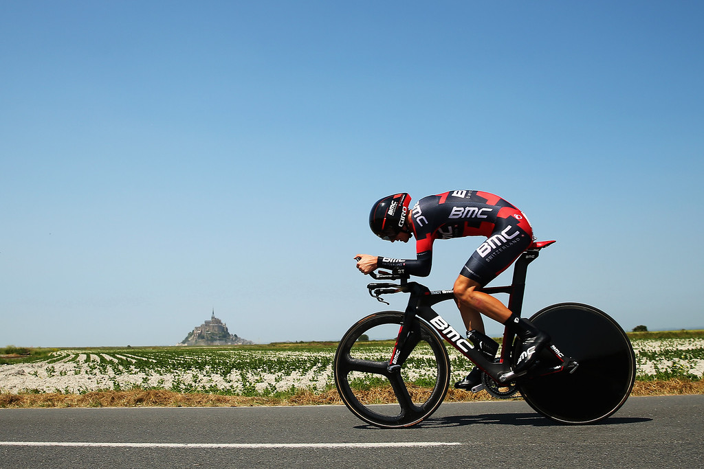 . Tejay Van Garderen of the United States and BMC Racing rides during stage eleven of the 2013 Tour de France, a 33KM Individual Time Trial from Avranches to Mont-Saint-Michel, on July 10, 2013 in Avranches, France.  (Photo by Bryn Lennon/Getty Images)