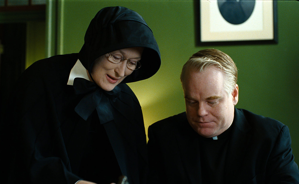 ". In this undated file image released by Miramax Film Corp., Philip Seymour Hoffman portrays Father Flynn, right, and Meryl Streep portrays Sister Aloysius  in a scene from ""Doubt.\"" Police say Hoffman was found dead in his New York City apartment Sunday, Feb. 2, 2014. He was 46. (AP Photo/Miramax Film Corp, Andrew Schwartz, File)"
