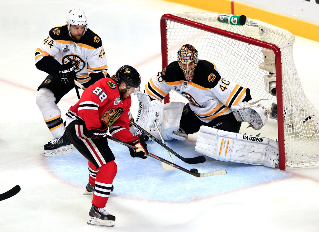 . CHICAGO, IL - JUNE 22:  Patrick Kane #88 of the Chicago Blackhawks scores a goal in the second period against Tuukka Rask #40 of the Boston Bruins in Game Five of the 2013 NHL Stanley Cup Final at United Center on June 22, 2013 in Chicago, Illinois.  (Photo by Jamie Squire/Getty Images)