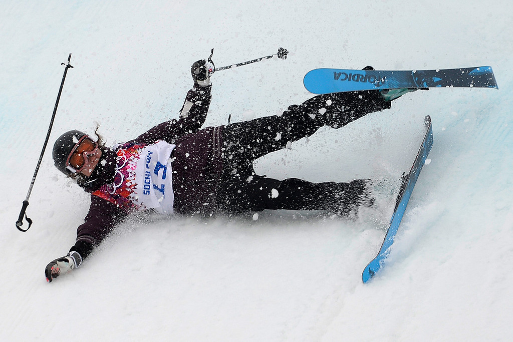 . Austria\'s Philomena Bair wipes out during the women\'s ski slopestyle qualifier. Sochi 2014 Winter Olympics on Tuesday, February 11, 2014. (Photo by AAron Ontiveroz/The Denver Post)