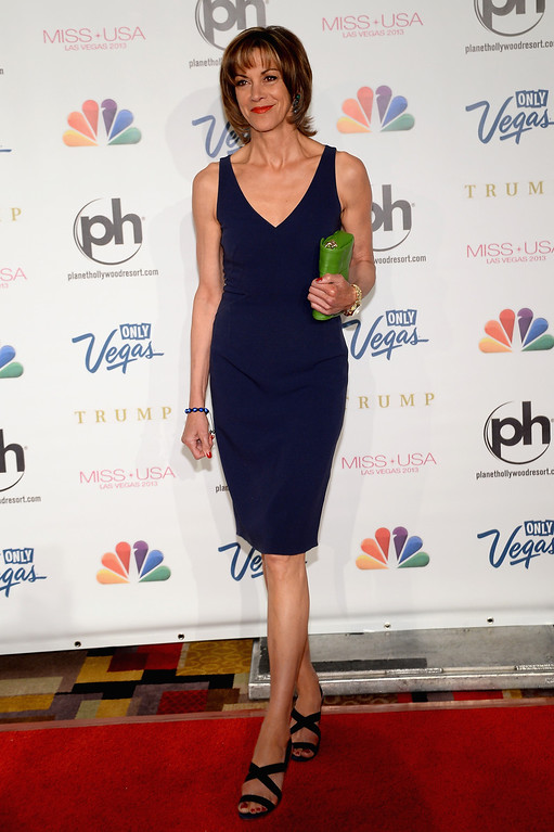 . Actress and pageant judge Wendie Malick arrives at the 2013 Miss USA pageant at Planet Hollywood Resort & Casino on June 16, 2013 in Las Vegas, Nevada.  (Photo by Ethan Miller/Getty Images)