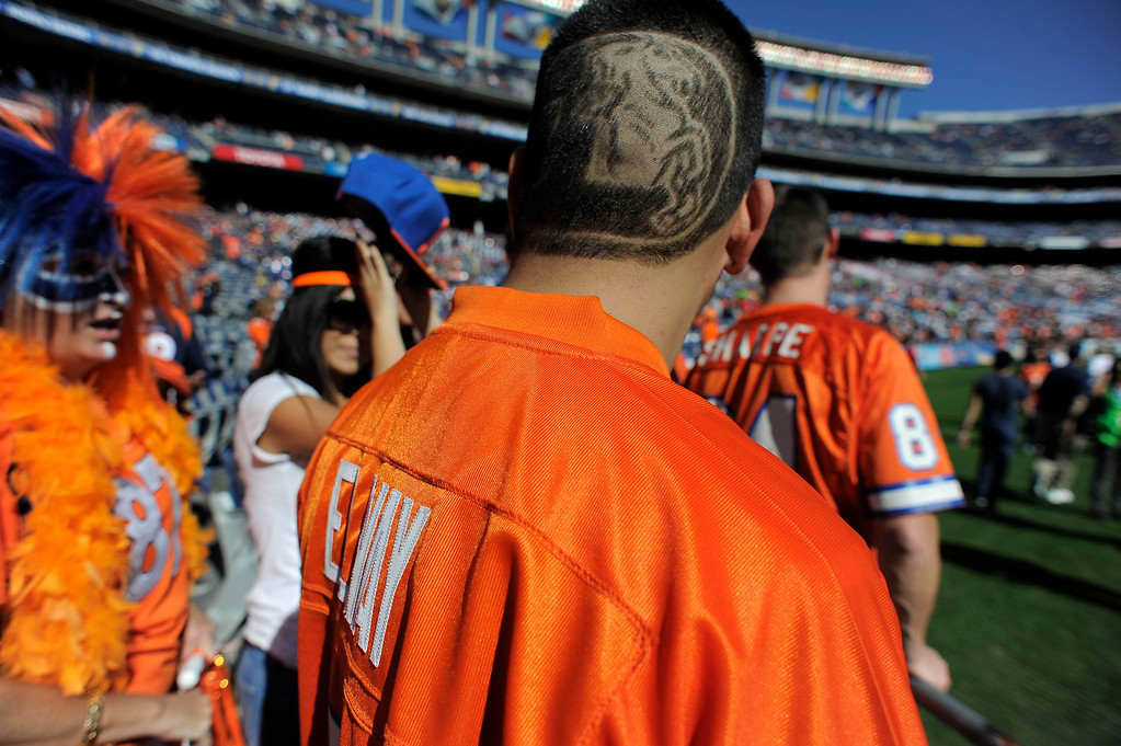 . ENGLEWOOD, CO - NOVEMBER 11: Denver Broncos fans in full force as they get ready for the game against the San Diego Chargers at Qualcomm Stadium. (Photo by John Leyba/The Denver Post)