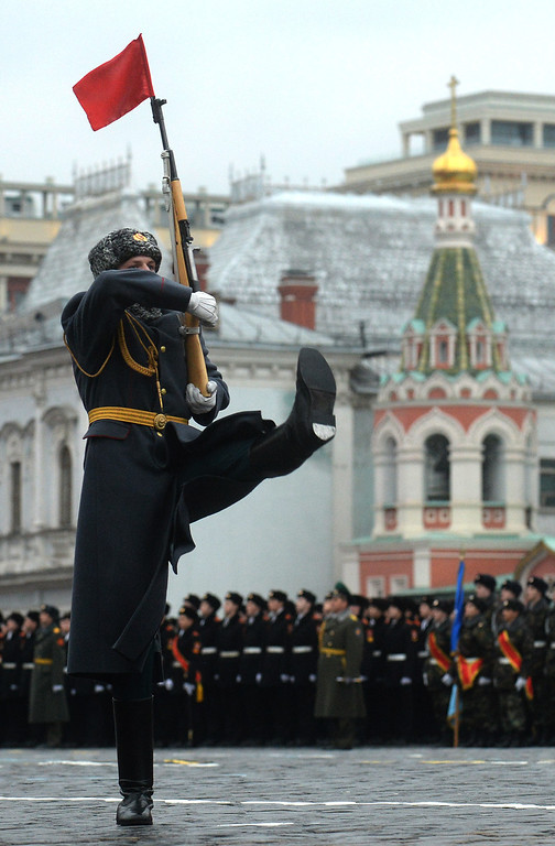 . A Russian honour guard marches during a military parade at the Red Square in Moscow, on November 7, 2013. This week Russia marks the 72nd anniversary of the November 7, 1941, parade, when Red Army troops marched past the Kremlin and then went directly to the front line to fight the Nazi Germany troops at the gates of the Russian capital. VASILY MAXIMOV/AFP/Getty Images