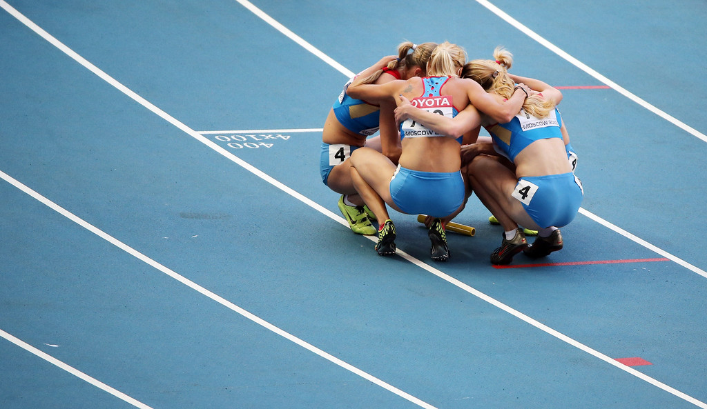 . Russian team celebrate after winning the women\'s 4x400 metres relay final at the 2013 IAAF World Championships at the Luzhniki stadium in Moscow on August 17, 2013.       LOIC VENANCE/AFP/Getty Images