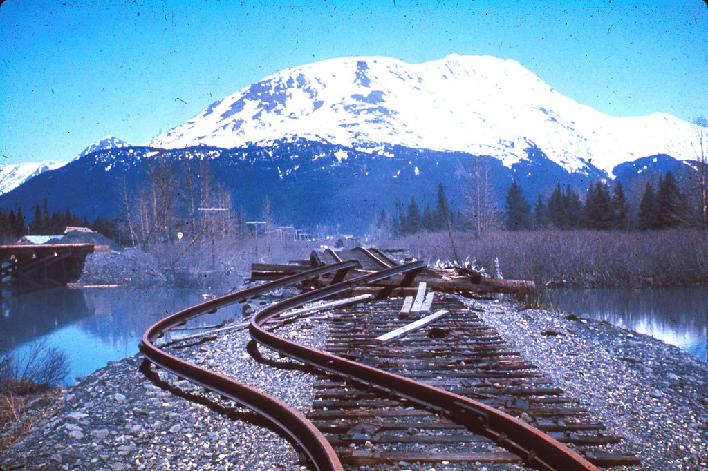 . Alaska Earthquake March 27, 1964. The rails in this approach to a railroad bridge near the head of Turnagain Arm were torn from their ties and buckled laterally by streamward movement of the riverbanks during the earthquake. The bridge was also compressed and developed a hump from vertical buckling. U.S. Geological Survey photo