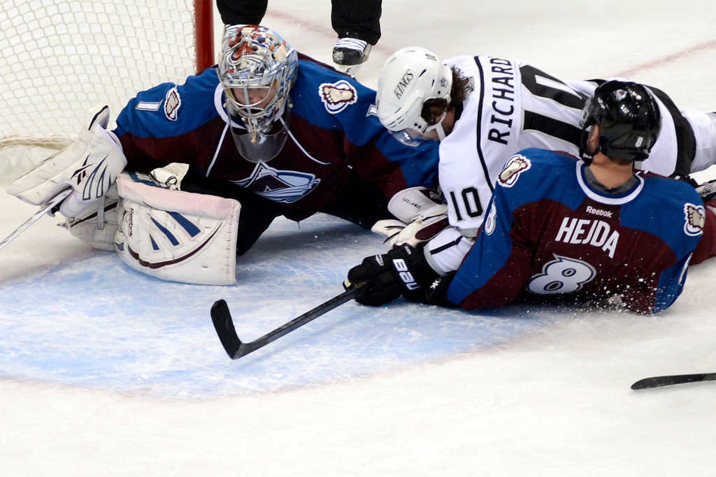 . DENVER, CO. - JANUARY 22: Colorado Avalanche goalie Semyon Varlamov (1) and defenseman Jan Hejda (8) defend the net against Los Angeles Kings center Mike Richards (10) during the second period. The Colorado Avalanche hosted the Los Angeles Kings at the Pepsi Center on January, 22, 2013.   (Photo By John Leyba / The Denver Post)