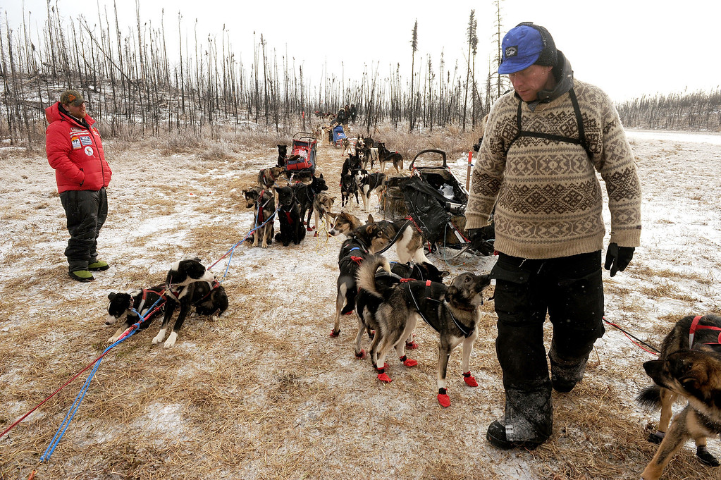 . Mats Pettersson lines up his dogs as he prepares to continue across the Farewell Burn during the Iditarod Trail Sled Dog Race in Alaska,  Tuesday, March 4, 2014. Jake Berkowitz, left, who busted up his sled beyond repair and scratched in the middle of the Burn, looks on. (AP Photo/The Anchorage Daily News, Bob Hallinen)