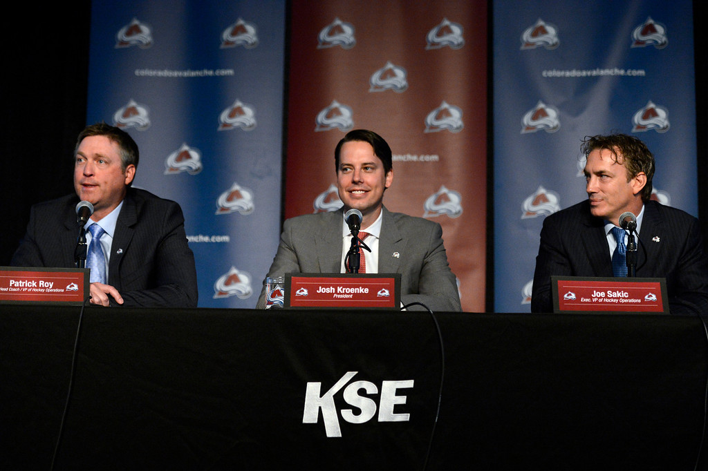 . Patrick Roy, Head Coach/Vice President of Hockey Operations, Avalanche President Josh Kroenke and Executive Vice President of Hockey Operations Joe Sakic  answer questions during a press conference.  (Photo By John Leyba/The Denver Post)