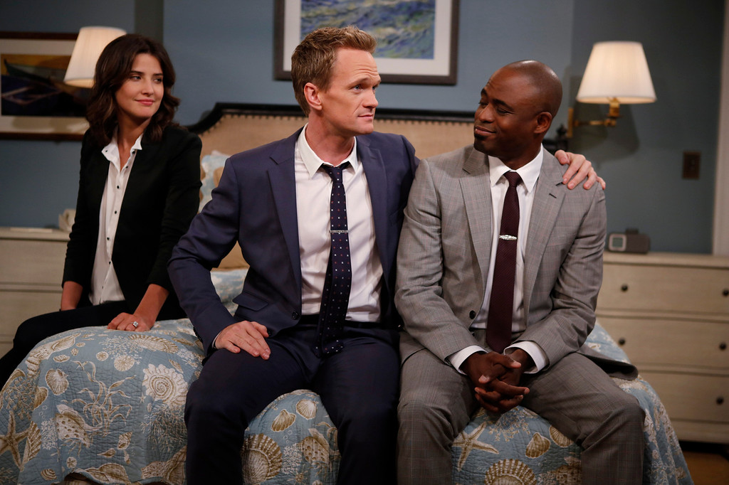 """. \""""Coming Back\"""" -- The wedding weekend is here! Robin (Cobie Smulders) and Barney (Neil Patrick Harris) share a  moment with James (Wayne Brady) before the chaos begins. The ninth season of HOW I MET YOUR MOTHER premieres with a special one-hour episode, Monday, Sept. 23 (8:00-9:00 PM, ET/PT) on the CBS Television Network. Photo: Cliff Lipson/CBS ���© 2013 CBS Broadcasting, Inc. All Rights Reserved."""