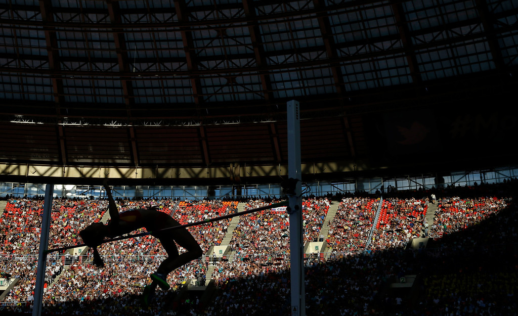 . China\'s Zheng Xingjuan competes in the women\'s high jump final at the World Athletics Championships in the Luzhniki stadium in Moscow, Russia, Saturday, Aug. 17, 2013. (AP Photo/David J. Phillip)