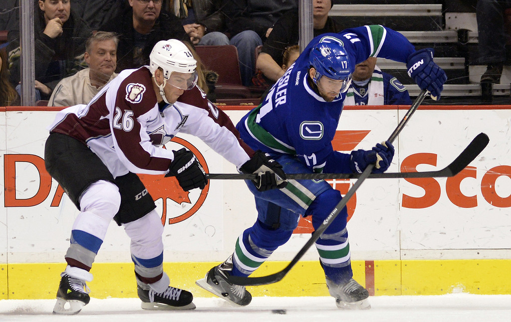. Paul Stastny #26 of the Colorado Avalanche tries to check Ryan Kesler #17 of the Vancouver Canucks during the second period in NHL action on December 08, 2012 at Rogers Arena in Vancouver, British Columbia, Canada.  (Photo by Rich Lam/Getty Images)