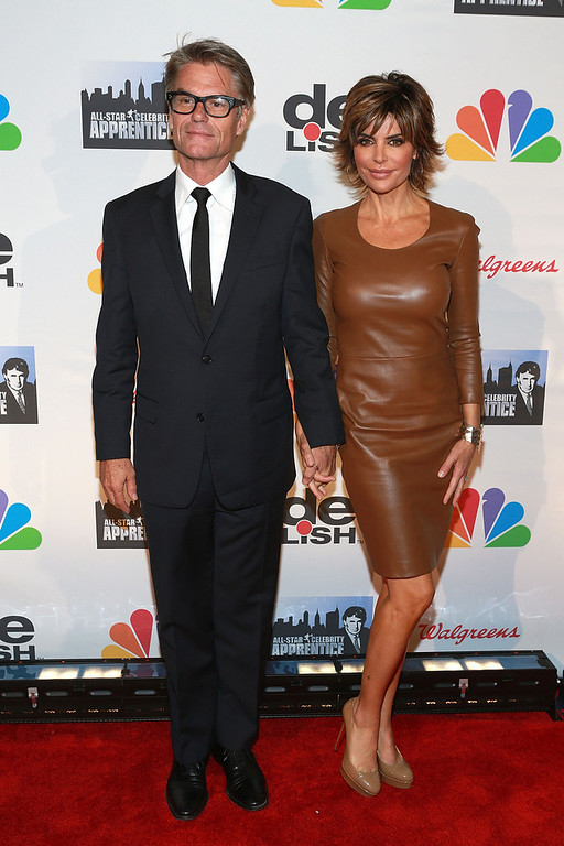 ". Harry Hamlin (L) and Lisa Rinna attends ""All Star Celebrity Apprentice\"" Finale at Cipriani 42nd Street on May 19, 2013 in New York City.  (Photo by Robin Marchant/Getty Images)"