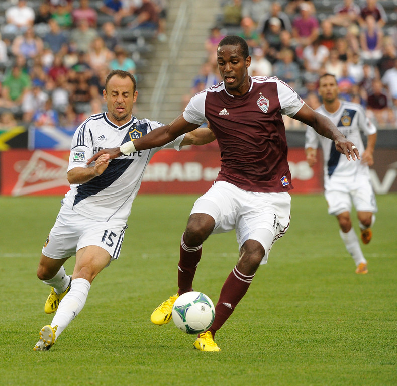 . COMMERCE CITY, CO. - JULY 27:  Rapids midfielder Atiba Harris made his way down the field Saturday in the second half. The Colorado Rapids defeated the Los Angeles Galaxy 2-0 Saturday, July 27, 2013.  Photo By Karl Gehring/The Denver Post