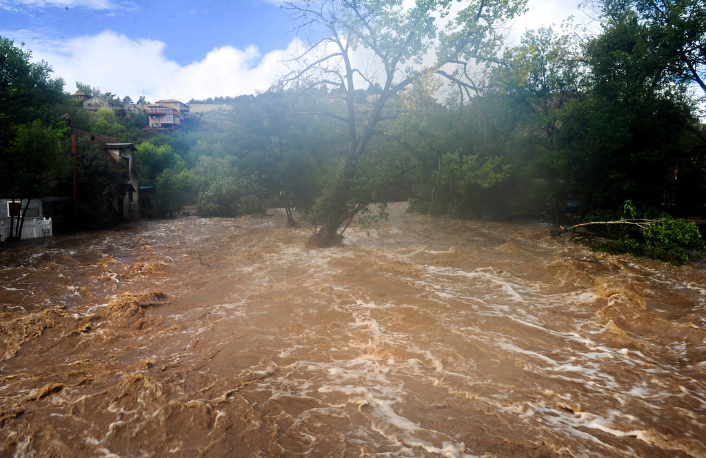 . St. Vrain River in Lyons Friday, Sept. 13, 2013. (Greg Lindstrom/Times-Call)