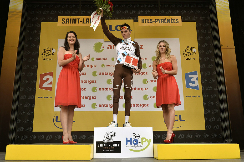 . France\'s Romain Bardet celebrates his combativity prize on the podium at the end of the 124.5 km seventeenth stage of the 101st edition of the Tour de France cycling race on July 23, 2014 between Saint-Gaudens and Saint-Lary Pla d\'Adet, southwestern France.  AFP PHOTO / JEFF  PACHOUD/AFP/Getty Images