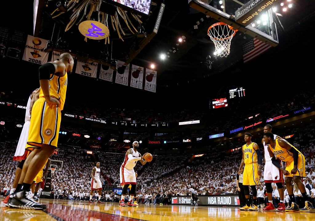. MIAMI, FL - MAY 30: LeBron James #6 of the Miami Heat takes a foul shot against the Indiana Pacers during Game Six of the Eastern Conference Finals of the 2014 NBA Playoffs at American Airlines Arena on May 30, 2014 in Miami, Florida.  (Photo by Mike Ehrmann/Getty Images)