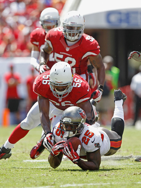 . TAMPA, FL - SEPTEMBER 29:  Mike James #25 of the Tampa Bay Buccaneers makes a diving catch against Karlos Dansby #56 of the Arizona Cardinals 2nd quarter at Raymond James Stadium on September 29, 2013 in Tampa, Florida.  (Photo by Scott Iskowitz/Getty Images)