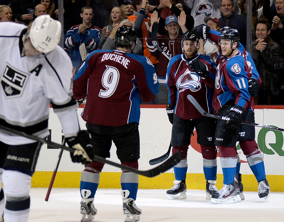 . Colorado Avalanche center Ryan O\'Reilly (90) celebrates his first period goal on Los Angeles Kings goalie Martin Jones (31) to tie the score February 27, 2014 at Pepsi Center. (Photo by John Leyba/The Denver Post)