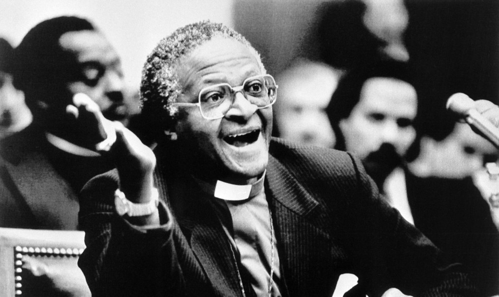 . Picture released on December 4, 1984 in Washington of South African activist and Anglican Archbishop and Nobel Peace Prize winner Desmond Tutu telling a House Subcommittee hearing on apartheid and crisis in South Africa. (DAVID TULLS/AFP/Getty Images)