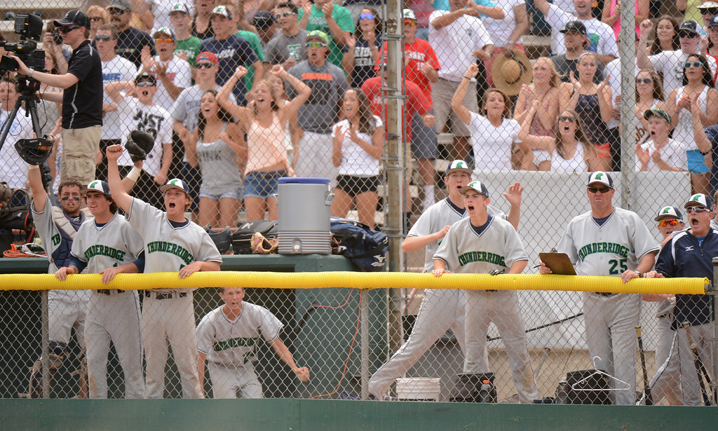 . DENVER, CO. - MAY 25: ThunderRidge HIgh School bench celebrate game tied scoring in the 7th inning of the final round of 5A baseball state championship game against Rocky Mountain High School at All City Field. Denver, Colorado. May 25, 2013. ThunderRidge won 2-1. (Photo By Hyoung Chang/The Denver Post)