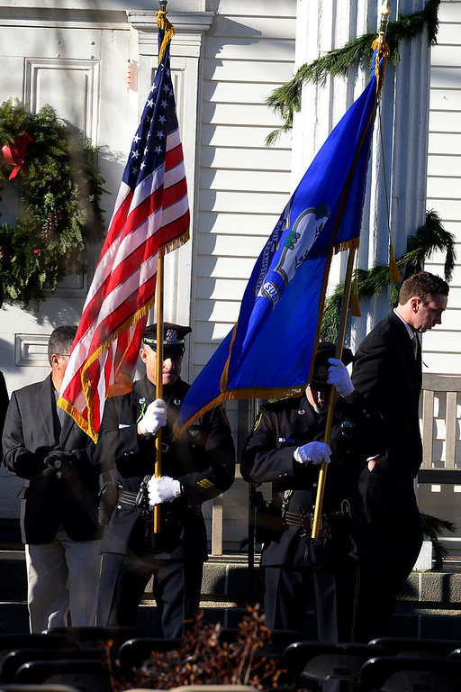 . The color guard awaits the hearse during the funeral service for Victoria Soto, 27, at the Lordship Community Church in Stratford, Connecticut on Wednesday, December 19, 2012. Soto, a first grade teacher, was shot and killed during the Newton shooting as she attempted to protect her students against the gunman. AAron Ontiveroz, The Denver Post