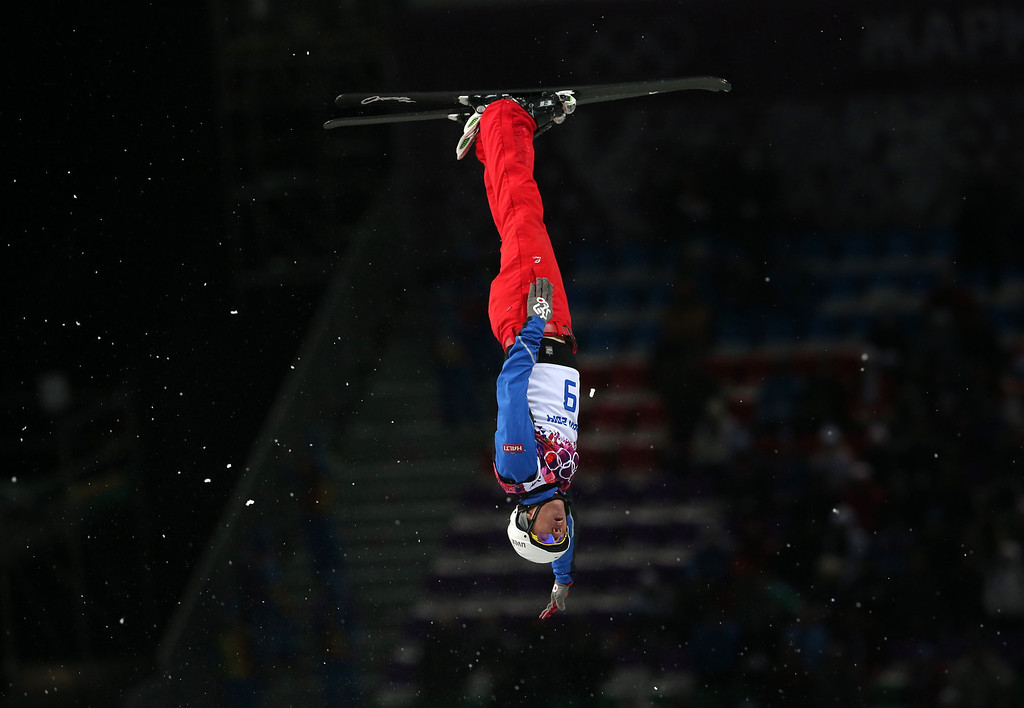 . China\'s Jia Zongyang jumps during the men\'s freestyle skiing aerials final at the Rosa Khutor Extreme Park, at the 2014 Winter Olympics, Monday, Feb. 17, 2014, in Krasnaya Polyana, Russia. (AP Photo/Sergei Grits)