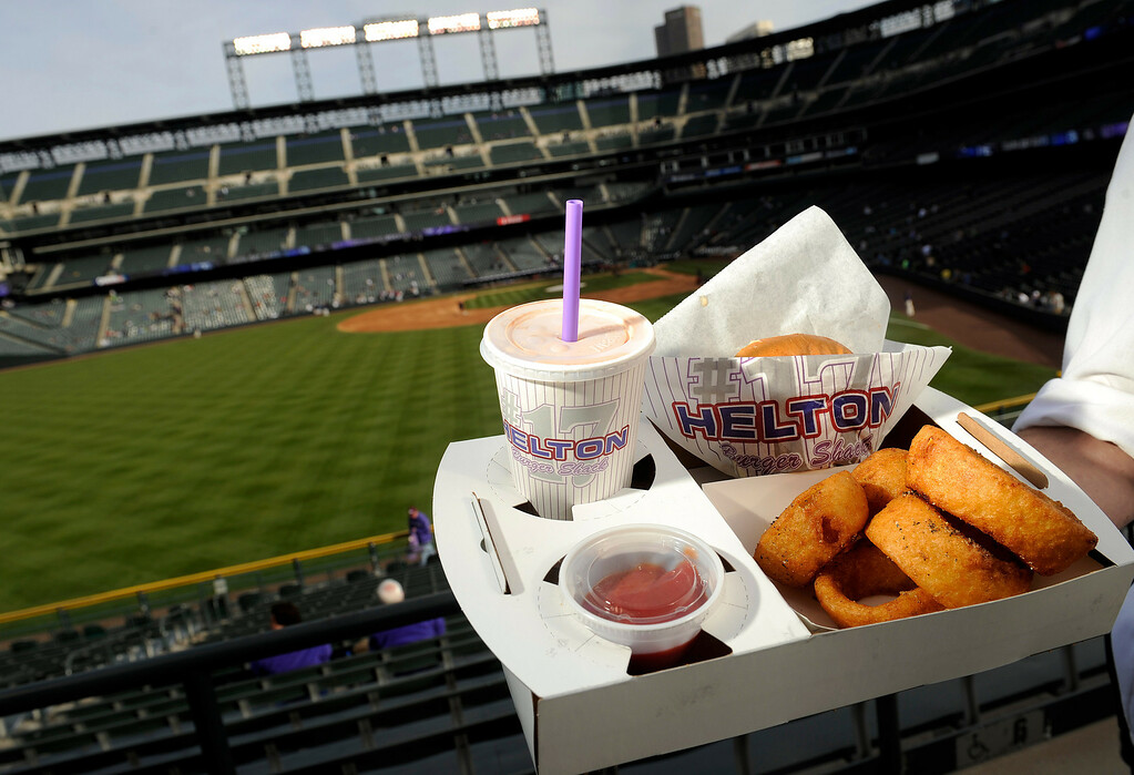 . Todd Helton\'s Burger Shack meal of milk shake, onion rings and burger available out along the outfield concourse at the Denver  baseball park on May 3, 2013 before the Rockies game. (Photo By Cyrus McCrimmon/The Denver Post)