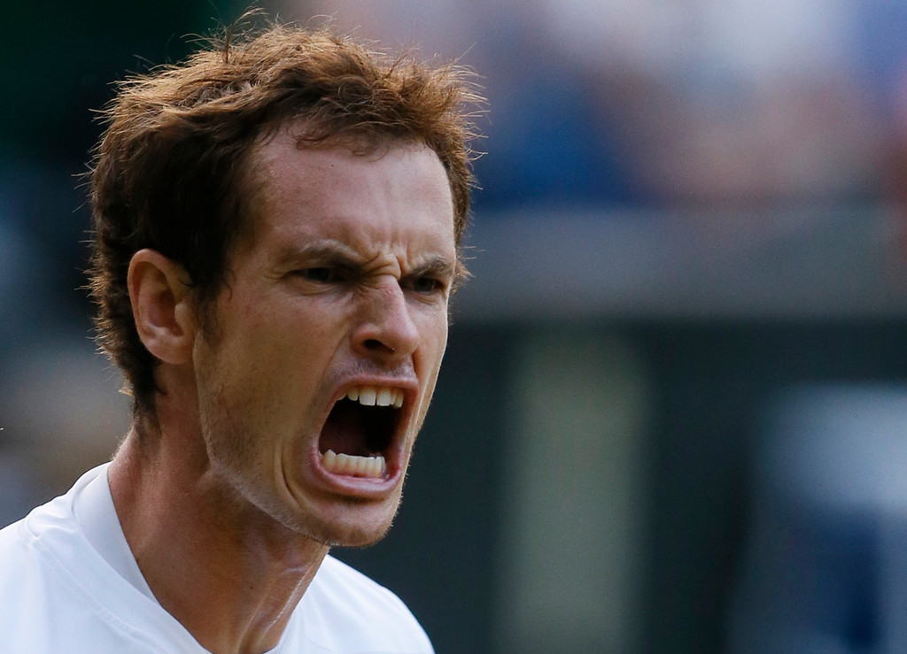 . Andy Murray of Britain reacts after a point to Jerzy Janowicz of Poland during their Men\'s singles semifinal match at the All England Lawn Tennis Championships in Wimbledon, London, Friday, July 5, 2013. (AP Photo/Kirsty Wigglesworth)