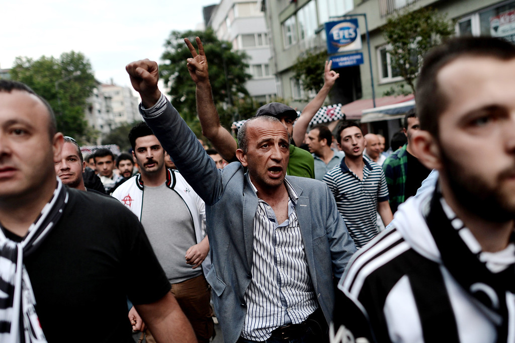 . Protesters demonstrate in Istanbul on June 4, 2013, as part of ongoing protests against the ruling party, police brutality, and the destruction of Taksim park for the sake of a development project.  AFP PHOTO / ARIS  MESSINIS/AFP/Getty Images