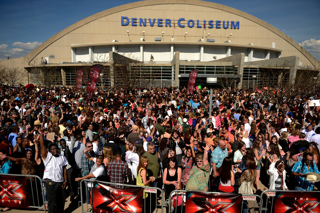 ". Thousands wait in line to audition for Fox\'s ""X-Factor\"" reality TV singing competition at the Denver Coliseum May 14, 2013 Denver, Colorado. (Photo By Joe Amon/The Denver Post)"