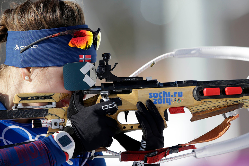 . Norway\'s Synnove Solemdal shoots during a training session at the Biathlon stadium, at the 2014 Winter Olympics, Tuesday, Feb. 4, 2014, in Krasnaya Polyana, Russia. (AP Photo/Lee Jin-man)