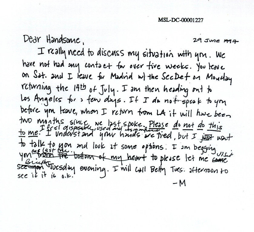 . A photograph showing a personal note sent by former White House intern Monica Lewinsky to President Bill Clinton submitted as evidence in documents Ken Starr investigation and released by the House Judicary committee September 21, 1998.