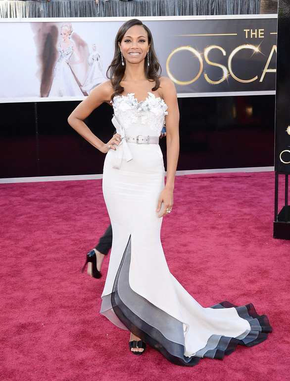 . Actress Zoe Saldana arrives at the Oscars at Hollywood & Highland Center on February 24, 2013 in Hollywood, California.  (Photo by Jason Merritt/Getty Images)