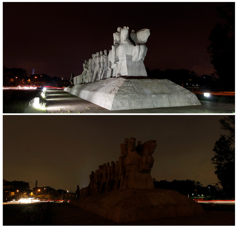 . The Bandeiras monument is seen during (bottom) and before Earth Hour in Sao Paulo, in this combination picture taken March 23, 2013. Earth Hour, when everyone around the world is asked to turn off the lights for an hour from 8.30 pm local time, is meant as a show of support for tougher actions to combat climate change. REUTERS/Paulo Whitaker