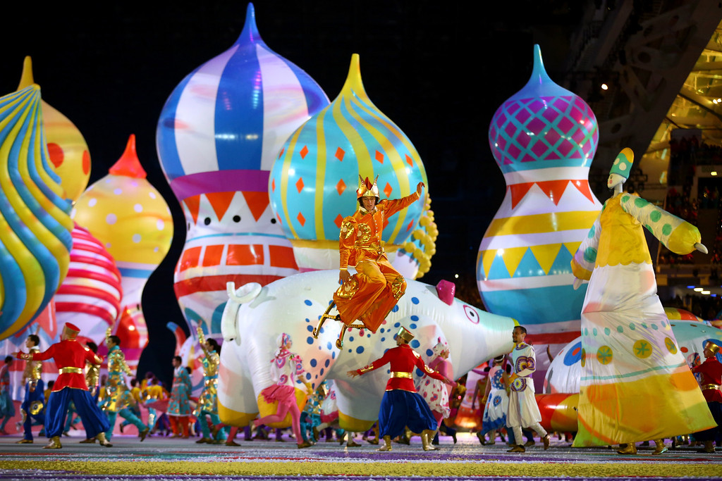 . Dancers perform with inflated objects during the Opening Ceremony of the Sochi 2014 Winter Olympics at Fisht Olympic Stadium on February 7, 2014 in Sochi, Russia.  (Photo by Ryan Pierse/Getty Images)