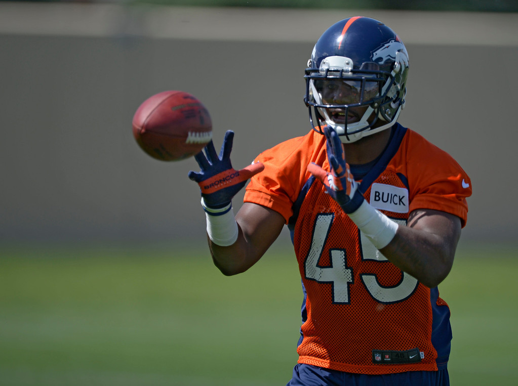 . Denver Broncos Jerome Murphy (45) catches a pass in drills during OTAs June 11, 2014 at Dove Valley. (Photo by John Leyba/The Denver Post)