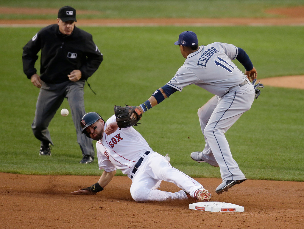. Boston Red Sox\'s Jacoby Ellsbury steals second base as the throw gets past Tampa Bay Rays shortstop Yunel Escobar (11) in the first inning in Game 2 of baseball\'s American League division series Saturday, Oct. 5, 2013, in Boston. Ellsbury scored the game\'s first run later in the inning. (AP Photo/Stephan Savoia)