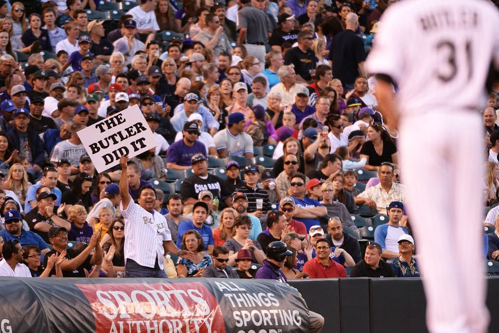 . DENVER JUNE 06: Fans cheer Eddie Butler of Colorado Rockies (31) during the game against Los Angeles Dodgers at Coors Field in Denver, Colorado June 6, 2014. (Photo by Hyoung Chang/The Denver Post)