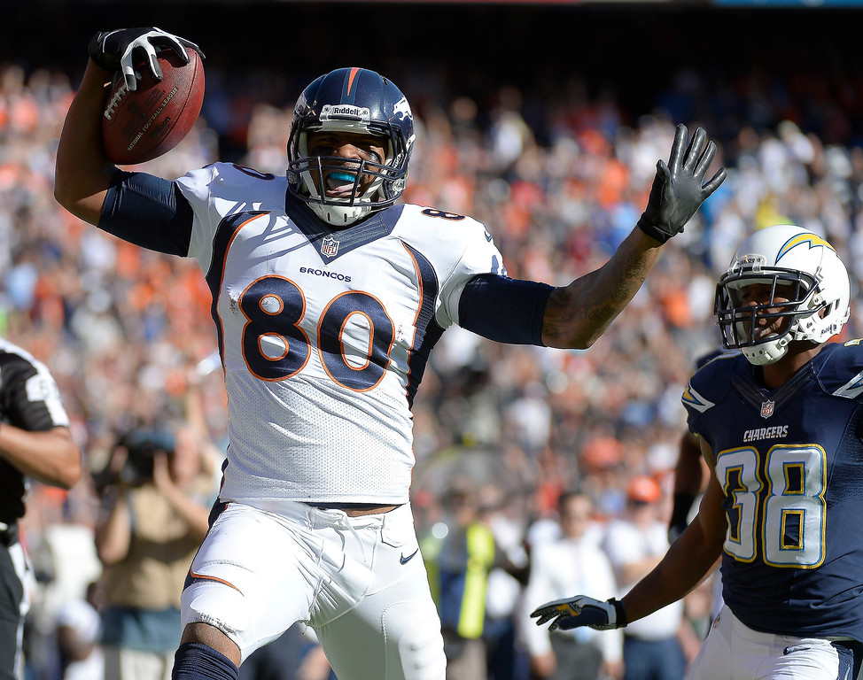 . Denver Broncos tight end Julius Thomas (80) celebrates his 74 yard touch down run down the sidelines during the first quarter at Qualcomm Stadium. (Photo by John Leyba/The Denver Post)