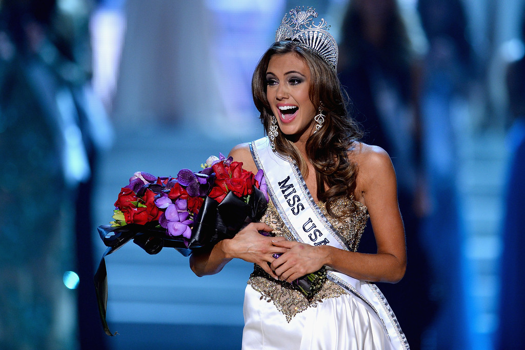 . Miss Connecticut USA Erin Brady reacts after being crowned Miss USA during the 2013 Miss USA pageant at PH Live at Planet Hollywood Resort & Casino on June 16, 2013 in Las Vegas, Nevada.  (Photo by Ethan Miller/Getty Images)
