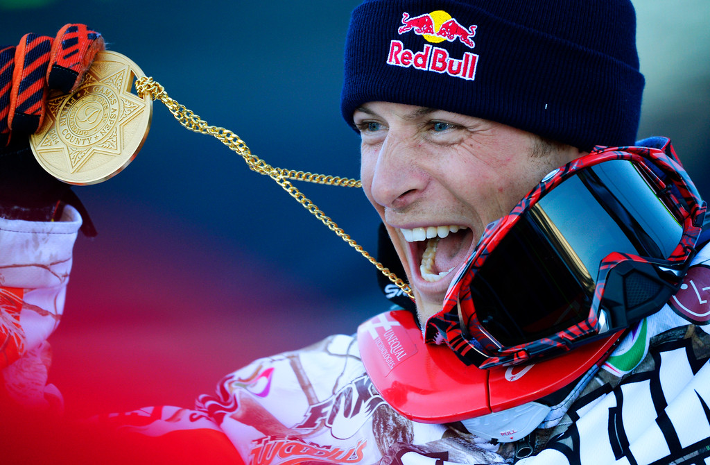 . Levi LaVallee wins gold during the Snowmobile Long Jump Finals at the Winter X Games, January, 25 2014. LaVallee has won seven gold medal throughout the years at the Winter X Games. (Photo by RJ Sangosti/The Denver Post)