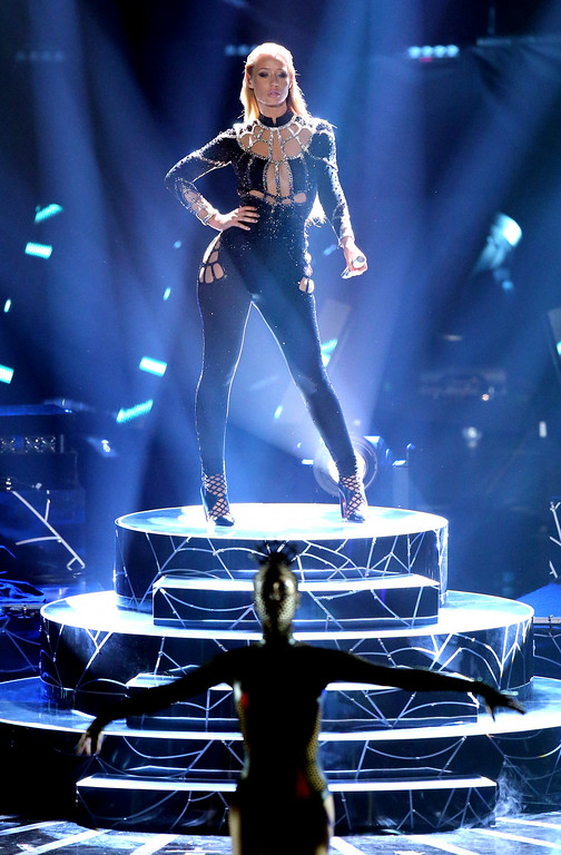 . Rapper Iggy Azalea performs onstage during the 2014 MTV Video Music Awards at The Forum on August 24, 2014 in Inglewood, California.  (Photo by Mark Davis/Getty Images)