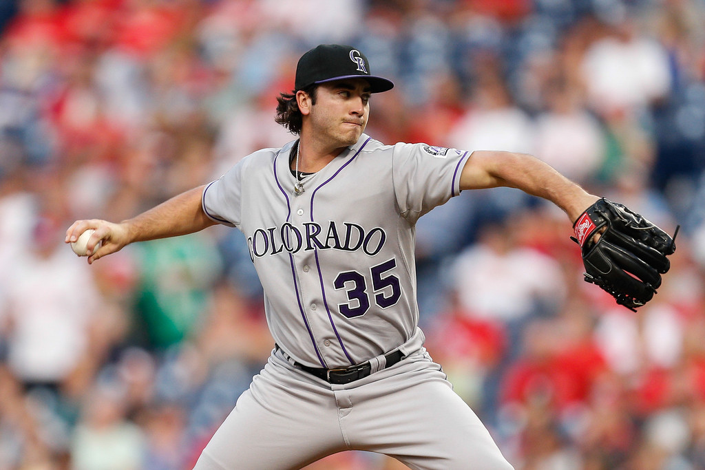 . PHILADELPHIA, PA - AUGUST 22: Starting pitcher Chad Bettis #35 of the Colorado Rockies throws a pitch during the game against the Philadelphia Phillies at Citizens Bank Park on August 22, 2013 in Philadelphia, Pennsylvania. (Photo by Brian Garfinkel/Getty Images)
