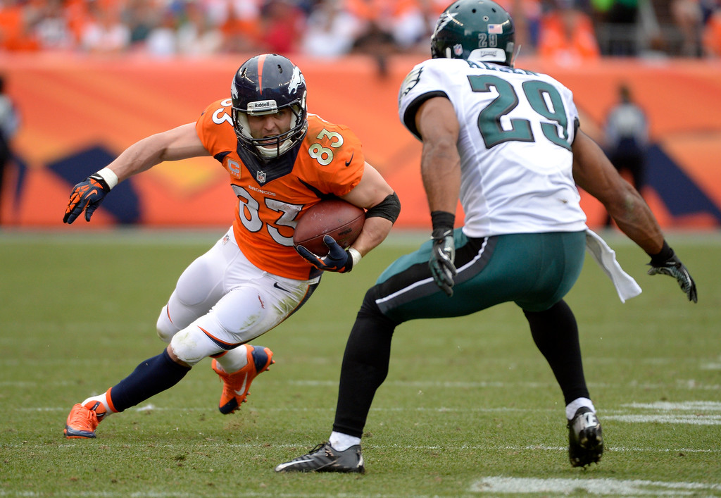 . Denver Broncos wide receiver Wes Welker (83) looks up field to Philadelphia Eagles strong safety Nate Allen (29) during the third quarter.  (Photo by Joe Amon/The Denver Post)
