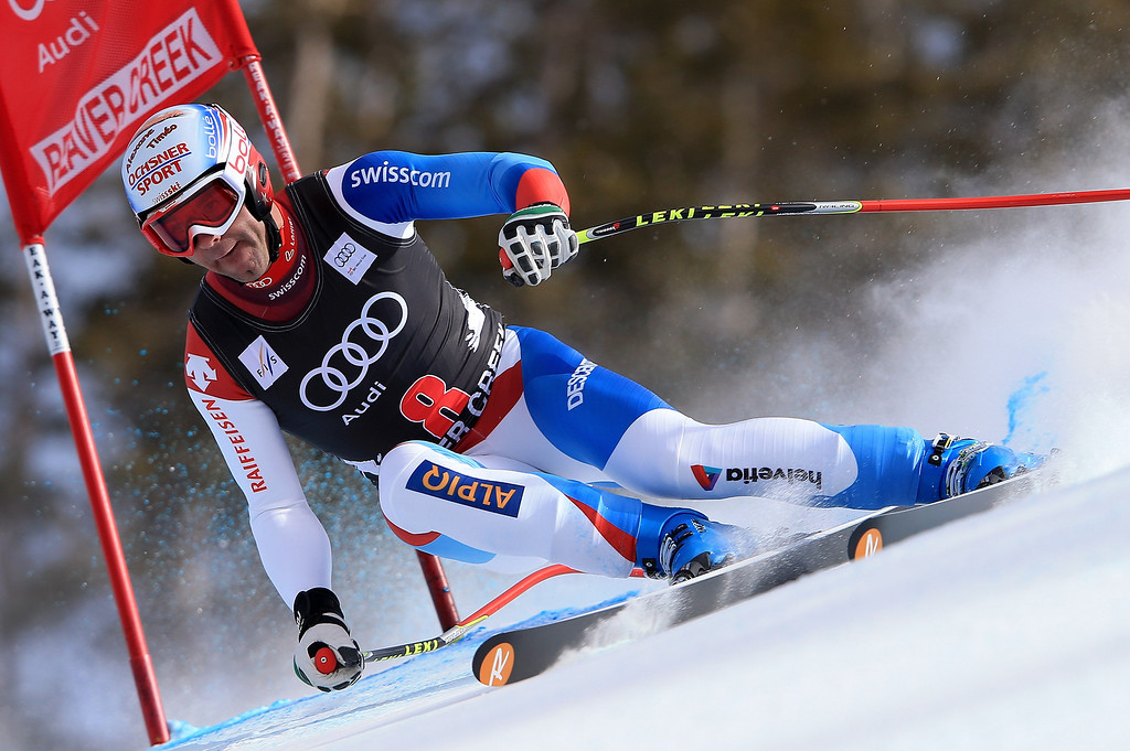 . Didier Defago of Switzerland skis to 10th place in the men\'s downhill on the Birds of Prey at the Audi FIS World Cup on November 30, 2012 in Beaver Creek, Colorado.  (Photo by Doug Pensinger/Getty Images)