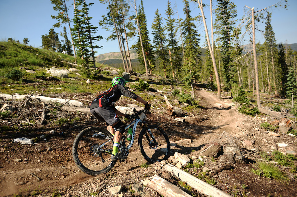 . WINTER PARK, CO. - July 26: Colton Andersen is in the first stage of First international Enduro World Cup Championship ever in U.S. at Winter Park, Colorado. July 26, 2013. Enduro mountain biking - high speed downhill racing. (Photo By Hyoung Chang/The Denver Post)