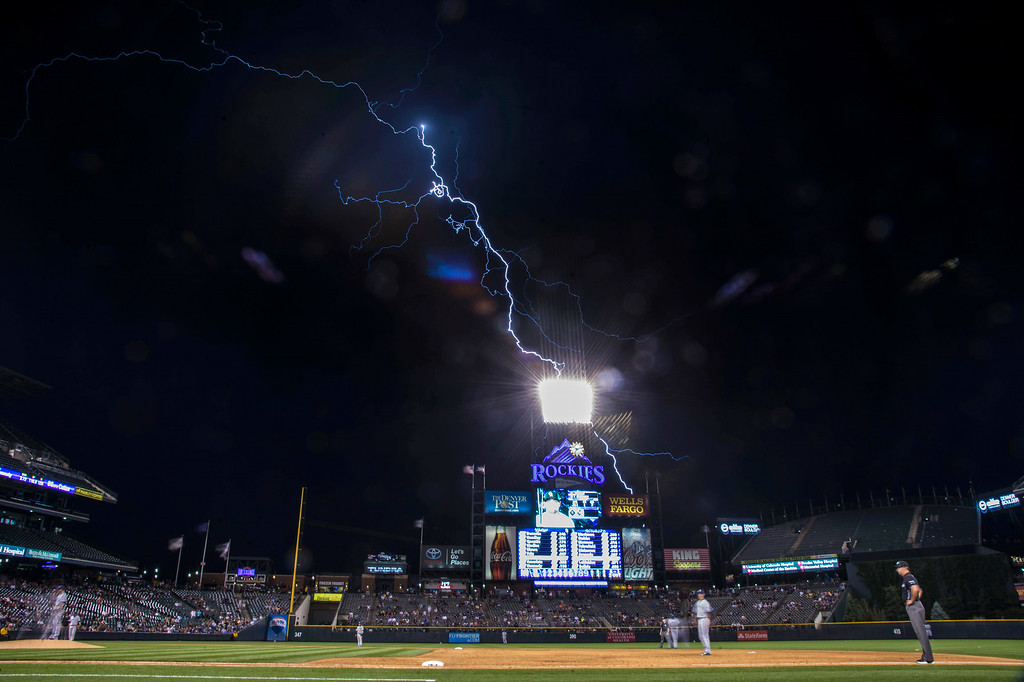 . Lightning hits the area during the Colorado Rockies versus the San Diego Padres July 7, 2014 at Coors Field. The game was stopped in the seventh inning due to lightning and rain. (Photo by John Leyba/The Denver Post)