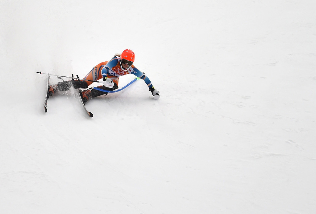 . Norway\'s Ragnhild Mowinckel competes during the Women\'s Alpine Skiing Super Combined Slalom at the Rosa Khutor Alpine Center during the Sochi Winter Olympics on February 10, 2014.      AFP PHOTO / FABRICE COFFRINI/AFP/Getty Images